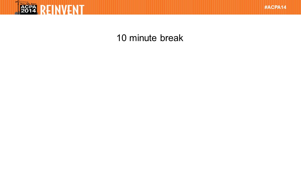 #ACPA14 10 minute break