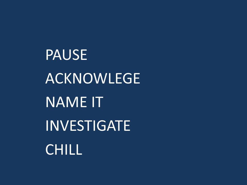 PAUSE ACKNOWLEGE NAME IT INVESTIGATE CHILL