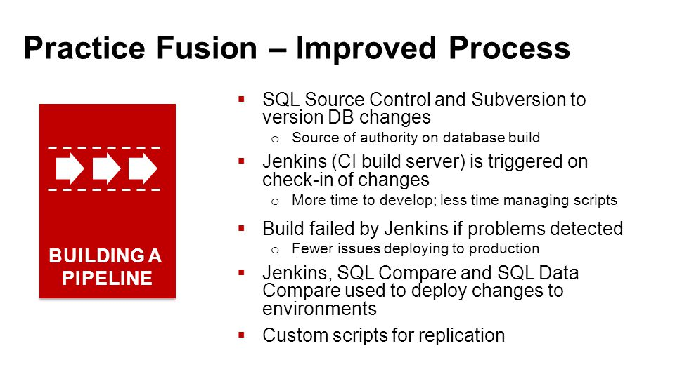 Practice Fusion – Improved Process  SQL Source Control and Subversion to version DB changes o Source of authority on database build  Jenkins (CI build server) is triggered on check-in of changes o More time to develop; less time managing scripts  Build failed by Jenkins if problems detected o Fewer issues deploying to production  Jenkins, SQL Compare and SQL Data Compare used to deploy changes to environments  Custom scripts for replication BUILDING A PIPELINE