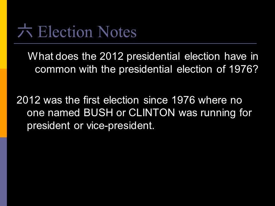 六 Election Notes What does the 2012 presidential election have in common with the presidential election of 1976? 2012 was the first election since 197