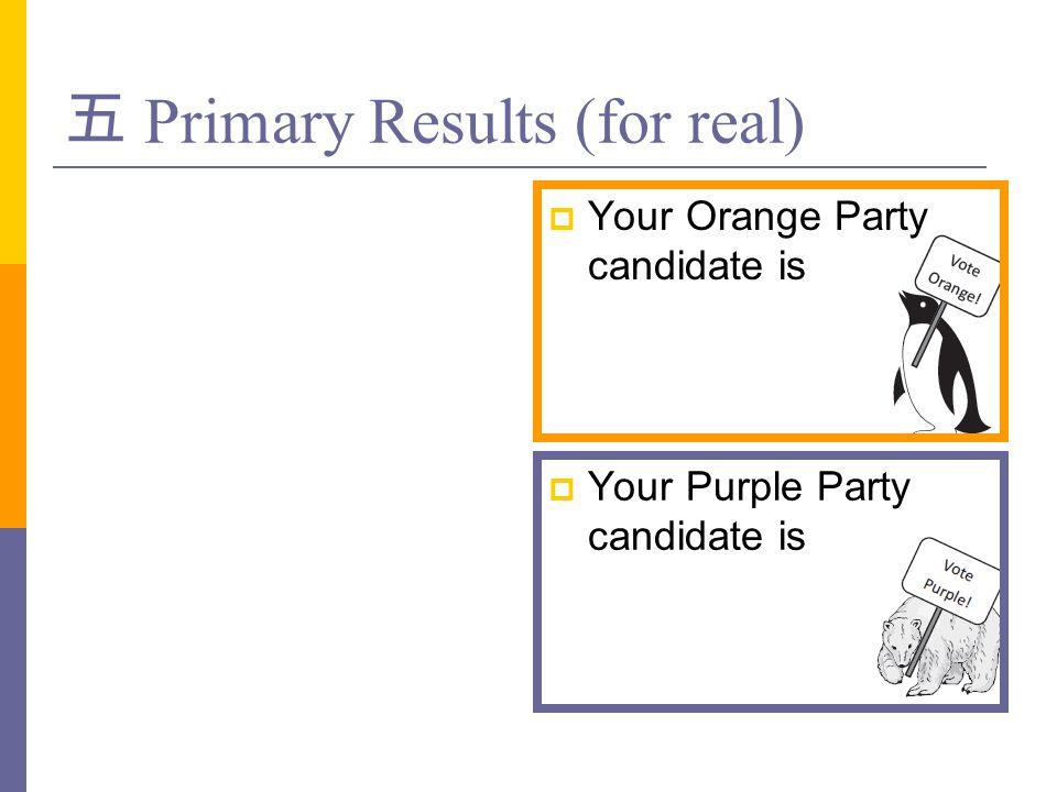 五 Primary Results (for real)  Your Orange Party candidate is  Your Purple Party candidate is