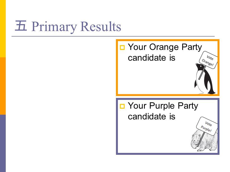 五 Primary Results  Your Orange Party candidate is  Your Purple Party candidate is
