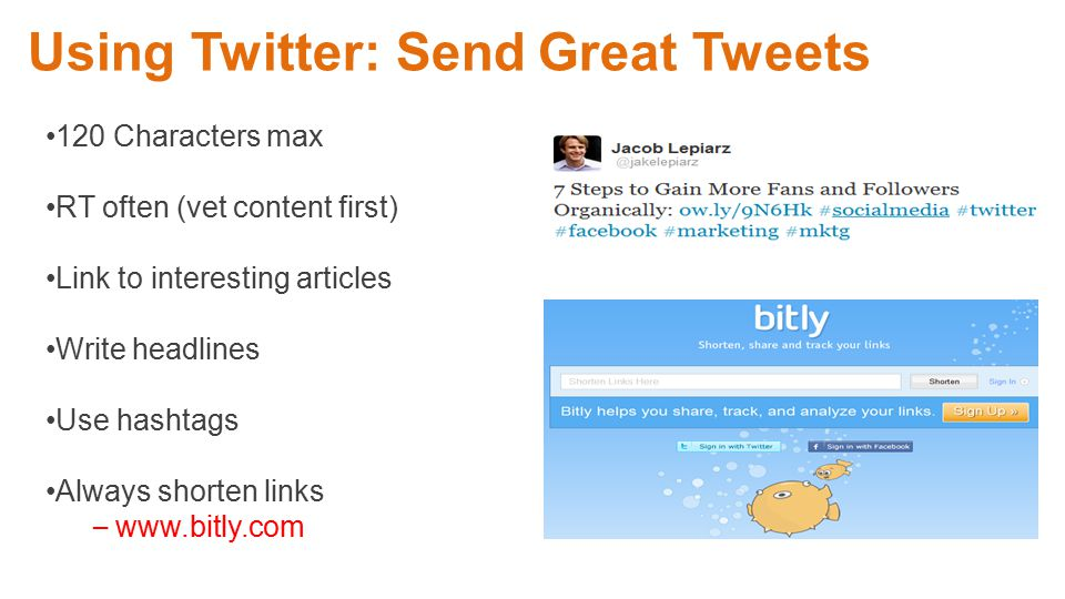 Corporate Equity Twitter Training: April 2012 Using Twitter: Send Great Tweets 120 Characters max RT often (vet content first) Link to interesting articles Write headlines Use hashtags Always shorten links – www.bitly.com