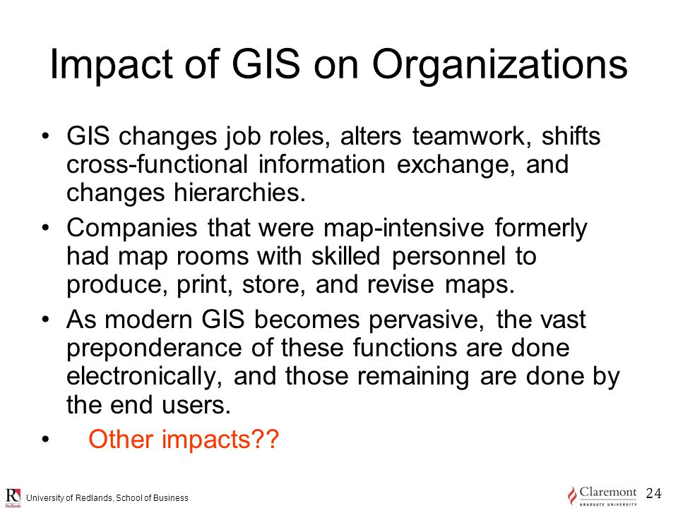 University of Redlands, School of Business Impact of GIS on Organizations GIS changes job roles, alters teamwork, shifts cross-functional information exchange, and changes hierarchies.