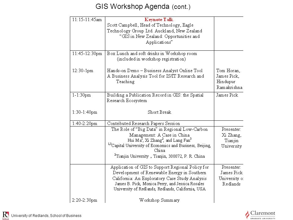 University of Redlands, School of Business GIS Workshop Agenda (cont.)