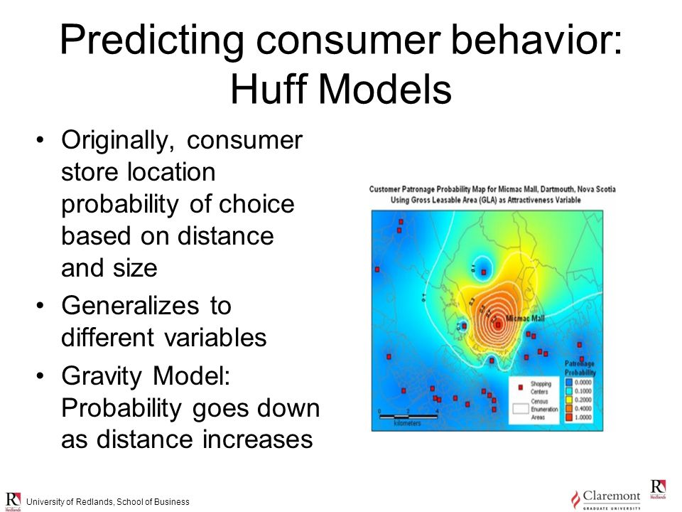 University of Redlands, School of Business Predicting consumer behavior: Huff Models Originally, consumer store location probability of choice based on distance and size Generalizes to different variables Gravity Model: Probability goes down as distance increases