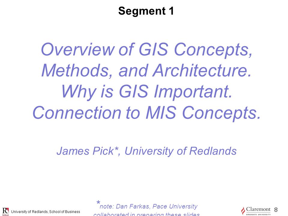 University of Redlands, School of Business Segment 1 Overview of GIS Concepts, Methods, and Architecture.