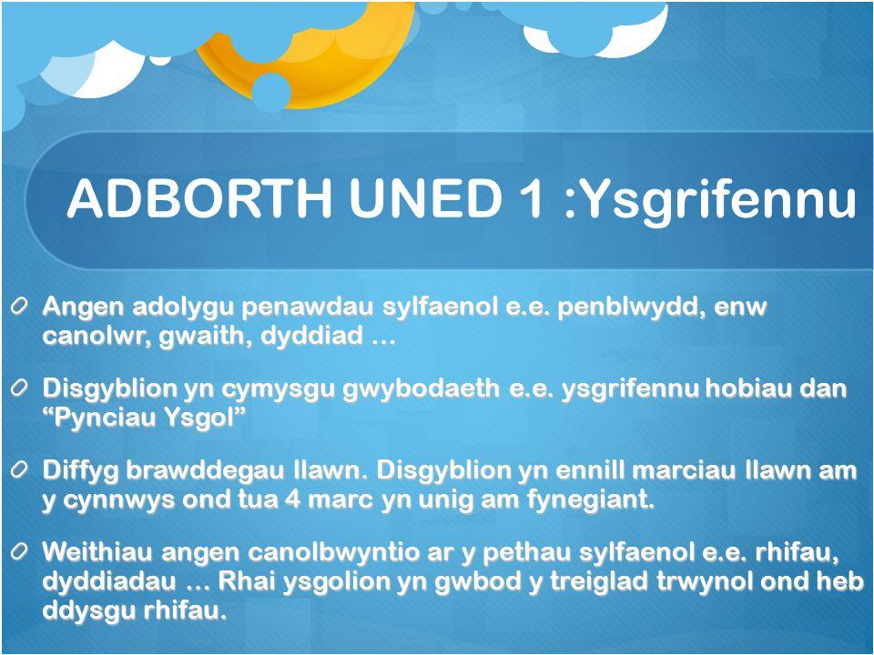 ADBORTH UNED 1 :Ysgrifennu Angen adolygu penawdau sylfaenol e.e.
