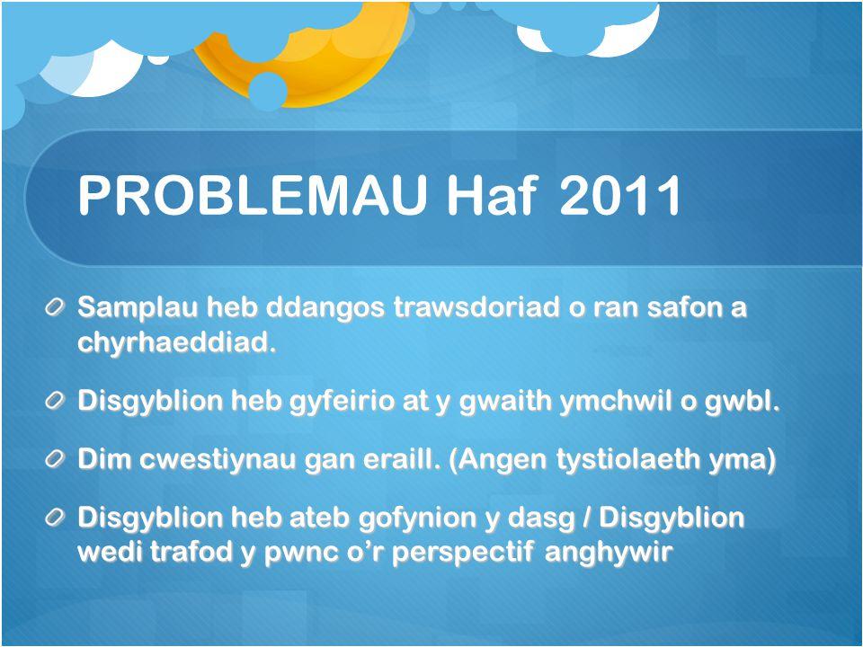 PROBLEMAU Haf 2011 Samplau heb ddangos trawsdoriad o ran safon a chyrhaeddiad.