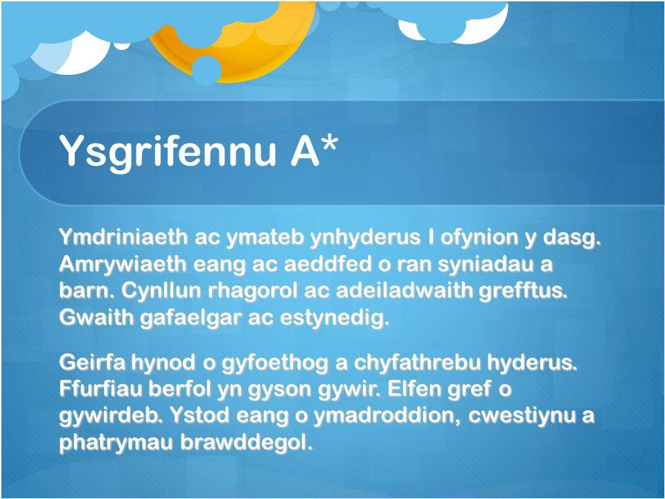 Ysgrifennu A* Ymdriniaeth ac ymateb ynhyderus I ofynion y dasg.