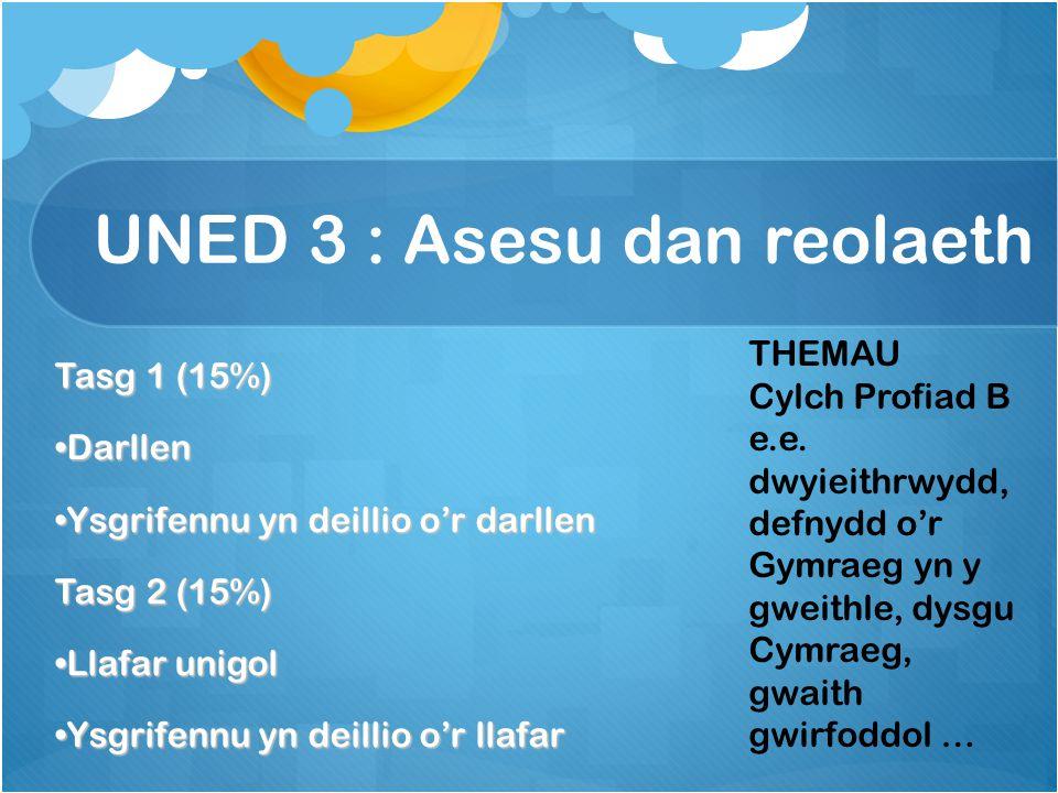 UNED 3 : Asesu dan reolaeth Tasg 1 (15%) Darllen Ysgrifennu yn deillio o'r darllen Tasg 2 (15%) Llafar unigol Ysgrifennu yn deillio o'r llafar THEMAU Cylch Profiad B e.e.