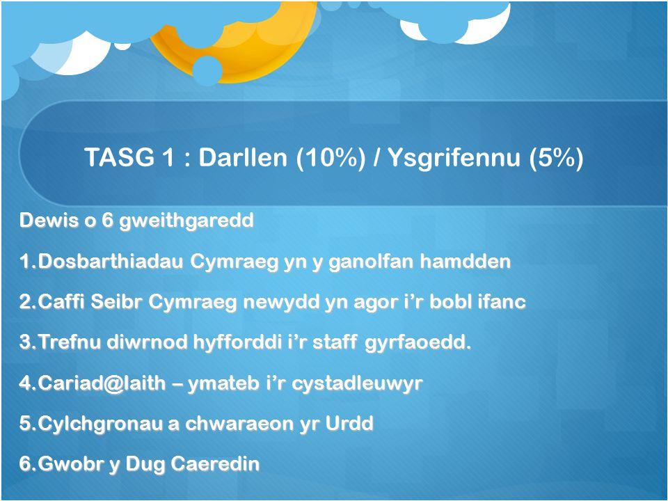 TASG 1 : Darllen (10%) / Ysgrifennu (5%) Dewis o 6 gweithgaredd 1.Dosbarthiadau Cymraeg yn y ganolfan hamdden 2.Caffi Seibr Cymraeg newydd yn agor i'r bobl ifanc 3.Trefnu diwrnod hyfforddi i'r staff gyrfaoedd.