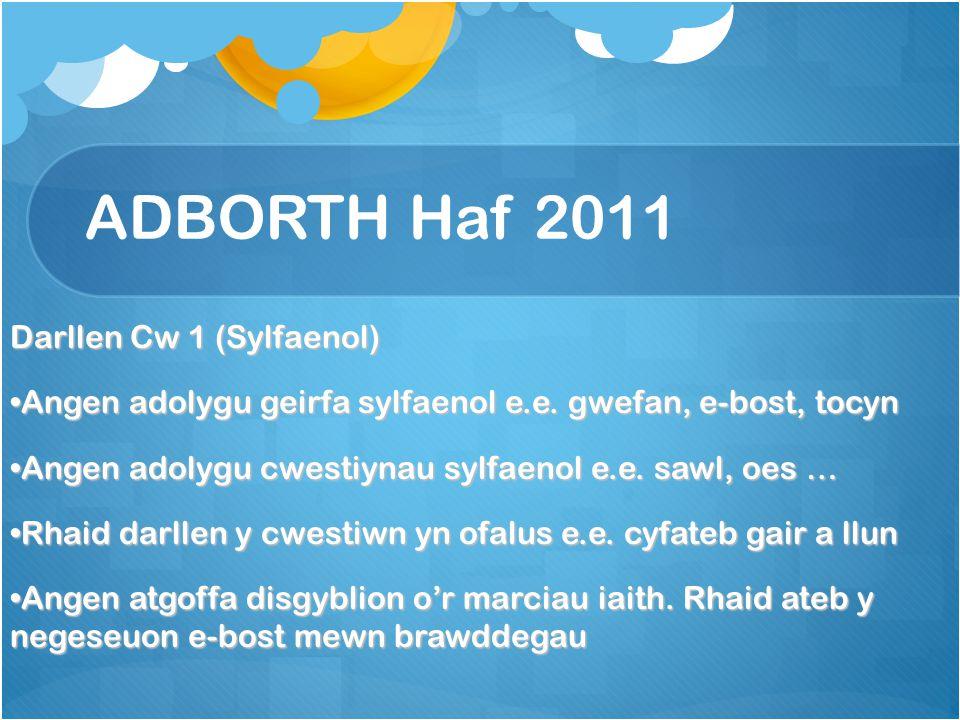 ADBORTH Haf 2011 Darllen Cw 1 (Sylfaenol) Angen adolygu geirfa sylfaenol e.e.