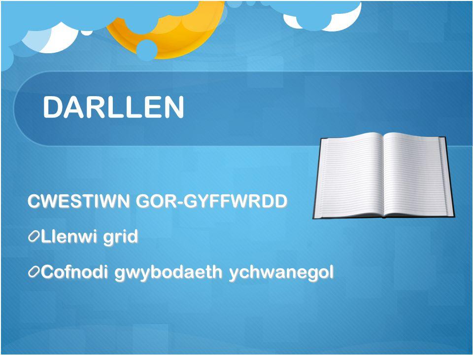 DARLLEN CWESTIWN GOR-GYFFWRDD Llenwi grid Cofnodi gwybodaeth ychwanegol