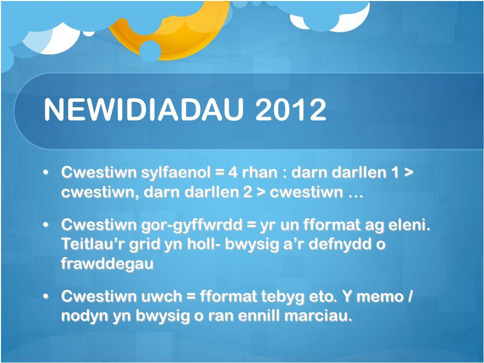 NEWIDIADAU 2012 Cwestiwn sylfaenol = 4 rhan : darn darllen 1 > cwestiwn, darn darllen 2 > cwestiwn …Cwestiwn sylfaenol = 4 rhan : darn darllen 1 > cwestiwn, darn darllen 2 > cwestiwn … Cwestiwn gor-gyffwrdd = yr un fformat ag eleni.