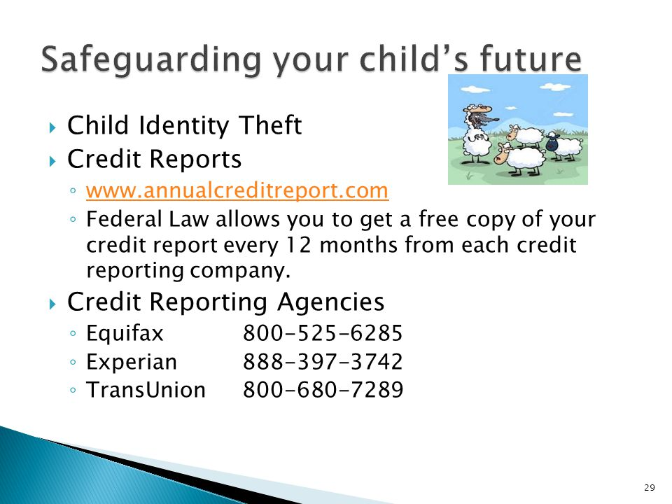 Child Identity Theft  Credit Reports ◦ www.annualcreditreport.com www.annualcreditreport.com ◦ Federal Law allows you to get a free copy of your cr
