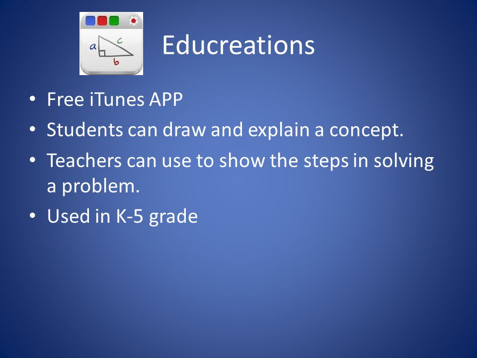 Educreations Free iTunes APP Students can draw and explain a concept.