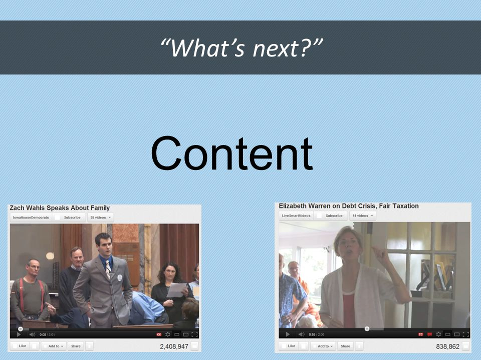 What's next? Content