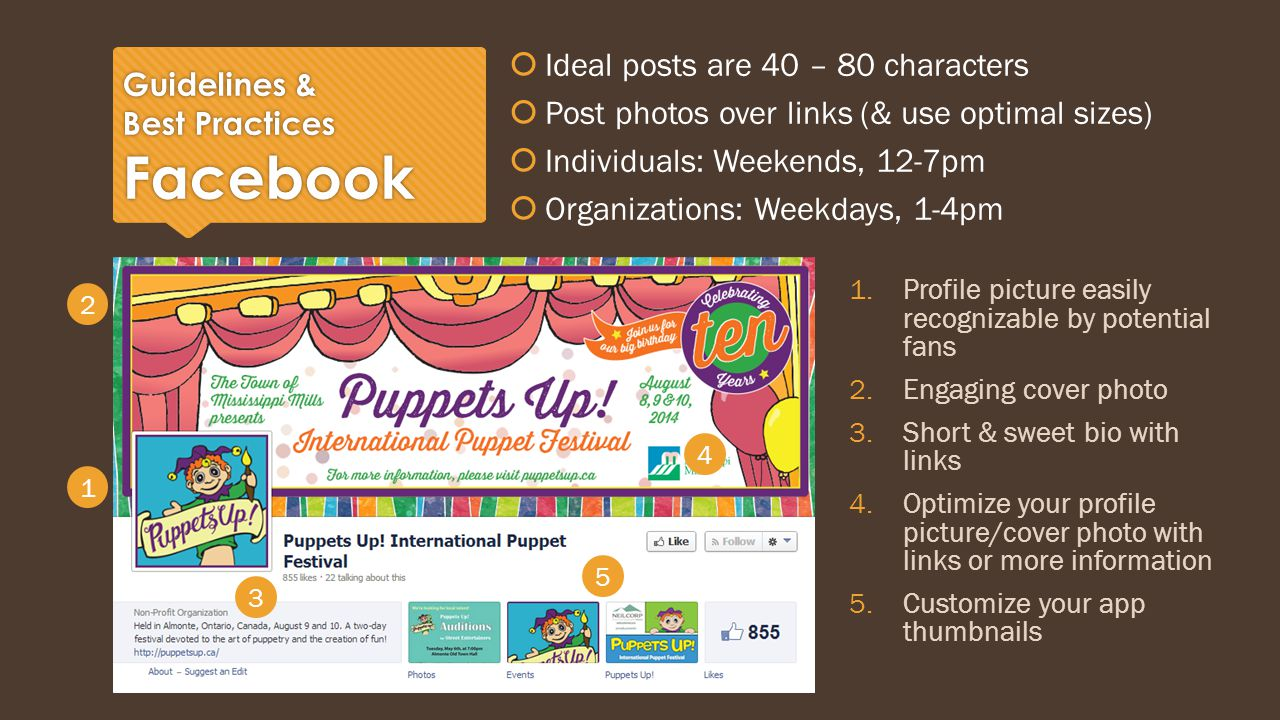 Guidelines & Best Practices Facebook  Ideal posts are 40 – 80 characters  Post photos over links (& use optimal sizes)  Individuals: Weekends, 12-7pm  Organizations: Weekdays, 1-4pm  Ideal posts are 40 – 80 characters  Post photos over links (& use optimal sizes)  Individuals: Weekends, 12-7pm  Organizations: Weekdays, 1-4pm 1.Profile picture easily recognizable by potential fans 2.Engaging cover photo 3.Short & sweet bio with links 4.Optimize your profile picture/cover photo with links or more information 5.Customize your app thumbnails 5 4 3 1 2