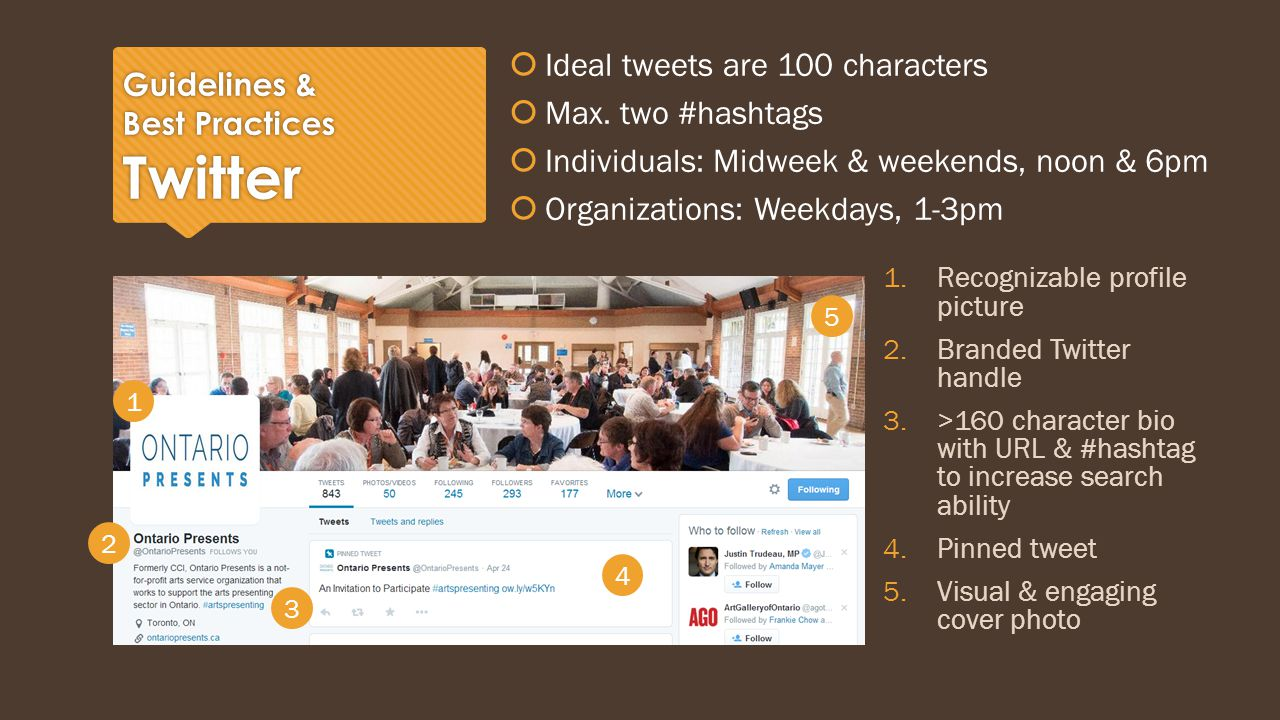 Guidelines & Best Practices Twitter  Ideal tweets are 100 characters  Max.