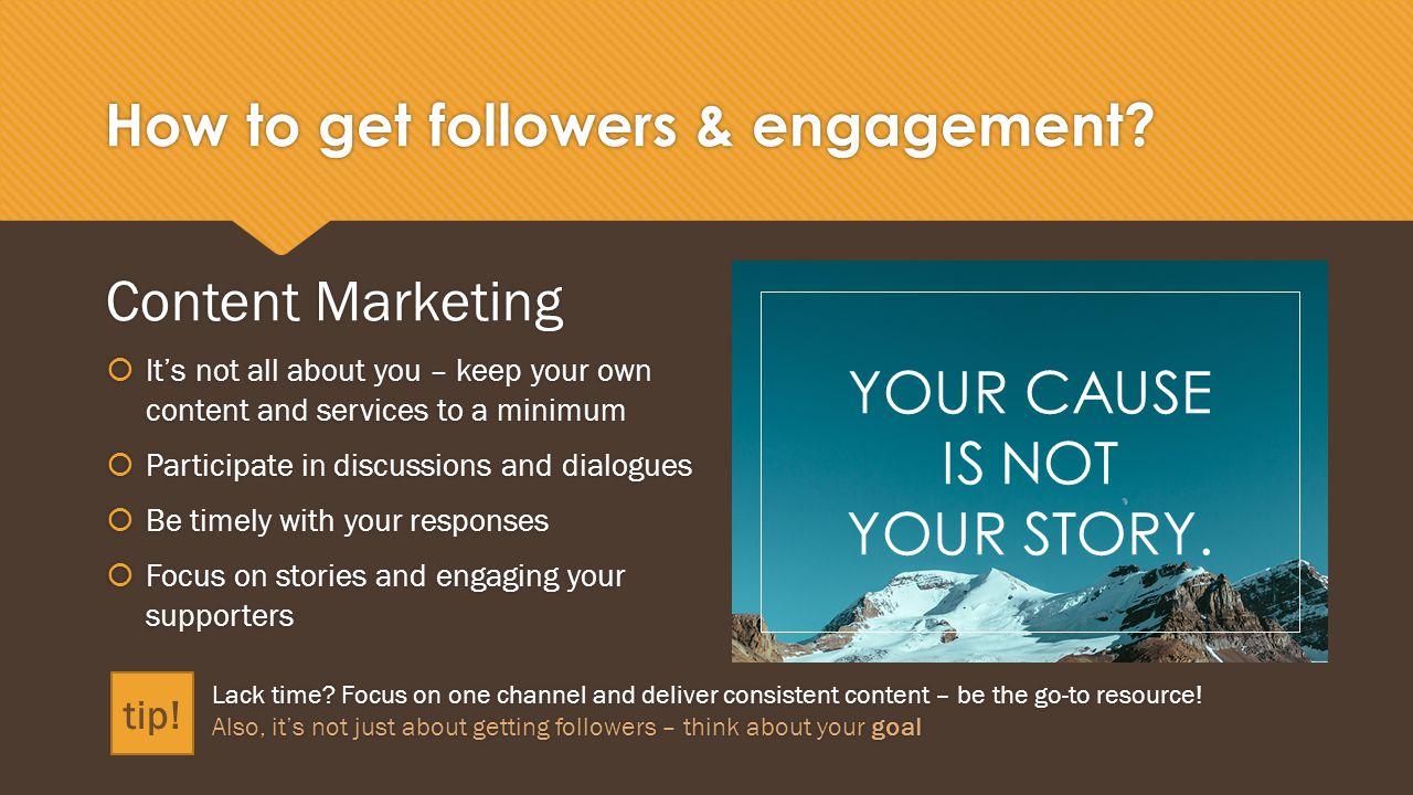 How to get followers & engagement.