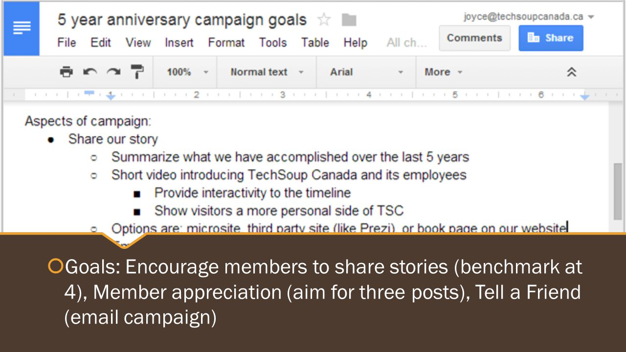  Goals: Encourage members to share stories (benchmark at 4), Member appreciation (aim for three posts), Tell a Friend (email campaign)