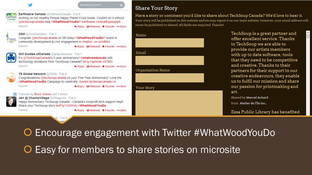  Encourage engagement with Twitter #WhatWoodYouDo  Easy for members to share stories on microsite