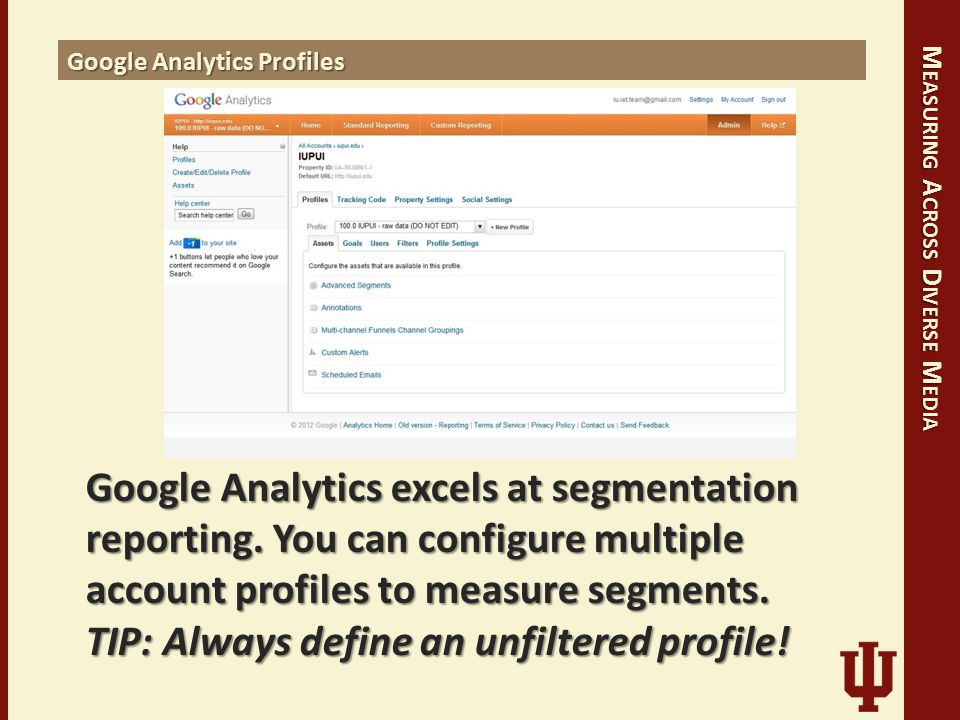 M EASURING A CROSS D IVERSE M EDIA Google Analytics Profiles Google Analytics excels at segmentation reporting.