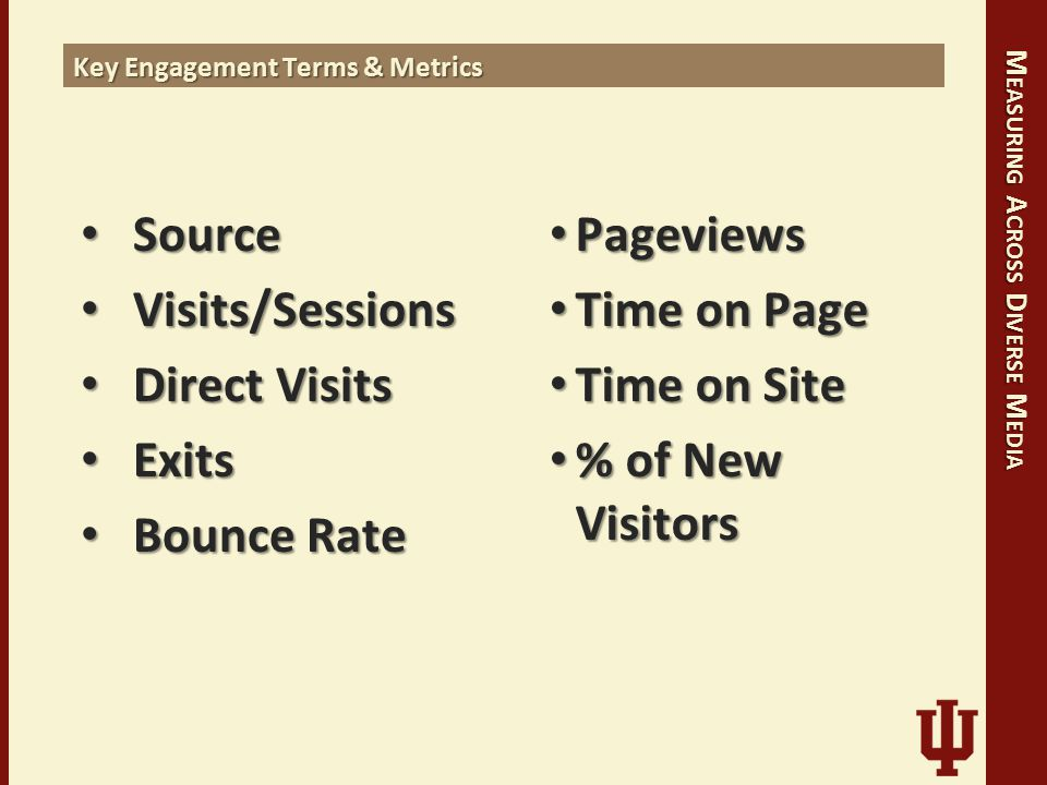 M EASURING A CROSS D IVERSE M EDIA Source Source Visits/Sessions Visits/Sessions Direct Visits Direct Visits Exits Exits Bounce Rate Bounce Rate Pageviews Pageviews Time on Page Time on Page Time on Site Time on Site % of New Visitors % of New Visitors Key Engagement Terms & Metrics