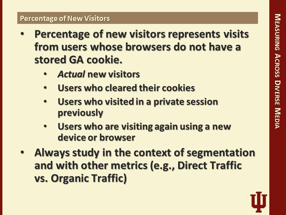 M EASURING A CROSS D IVERSE M EDIA Percentage of New Visitors Percentage of new visitors represents visits from users whose browsers do not have a stored GA cookie.