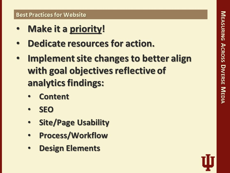 M EASURING A CROSS D IVERSE M EDIA Best Practices for Website Make it a priority.