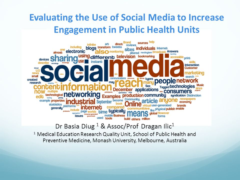 Evaluating the Use of Social Media to Increase Engagement in Public Health Units Dr Basia Diug 1 & Assoc/Prof Dragan Ilic 1 1 Medical Education Research Quality Unit, School of Public Health and Preventive Medicine, Monash University, Melbourne, Australia