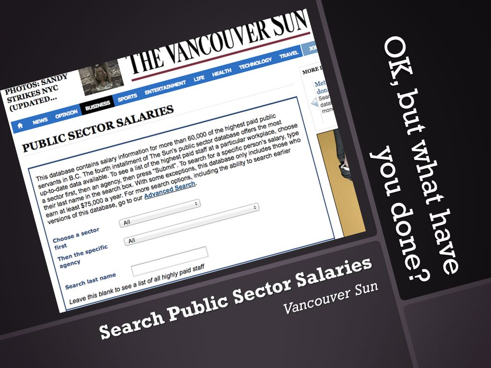 OK, but what have you done? Search Public Sector Salaries Vancouver Sun