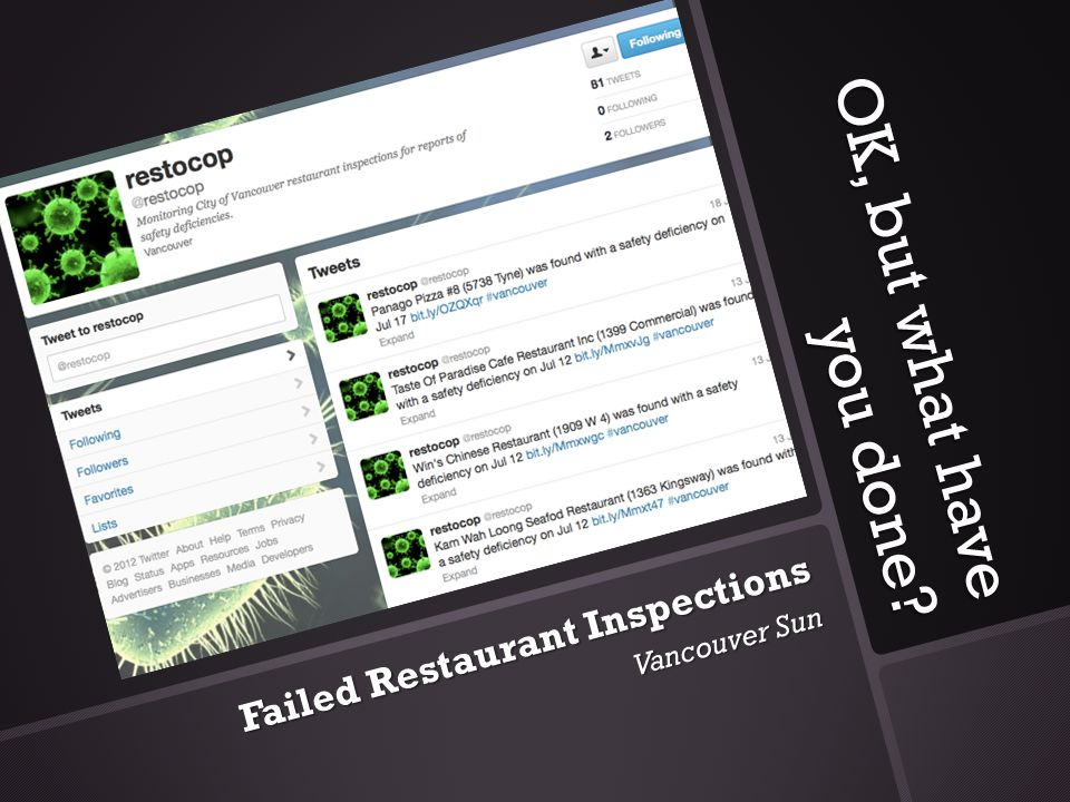 OK, but what have you done Failed Restaurant Inspections Vancouver Sun
