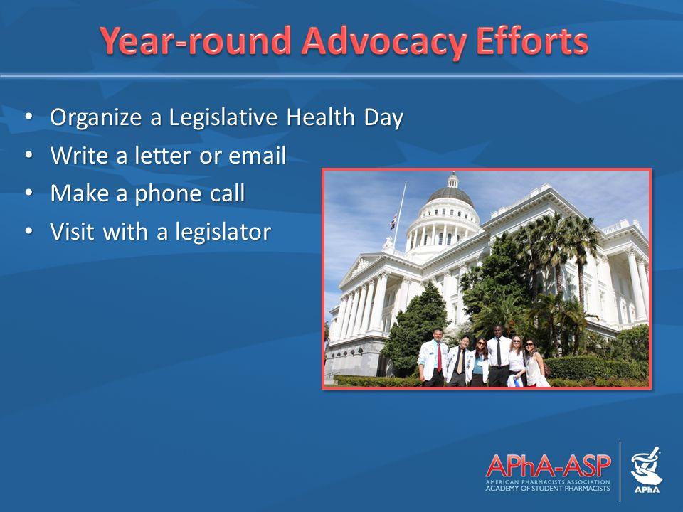 Organize a Legislative Health Day Organize a Legislative Health Day Write a letter or email Write a letter or email Make a phone call Make a phone call Visit with a legislator Visit with a legislator