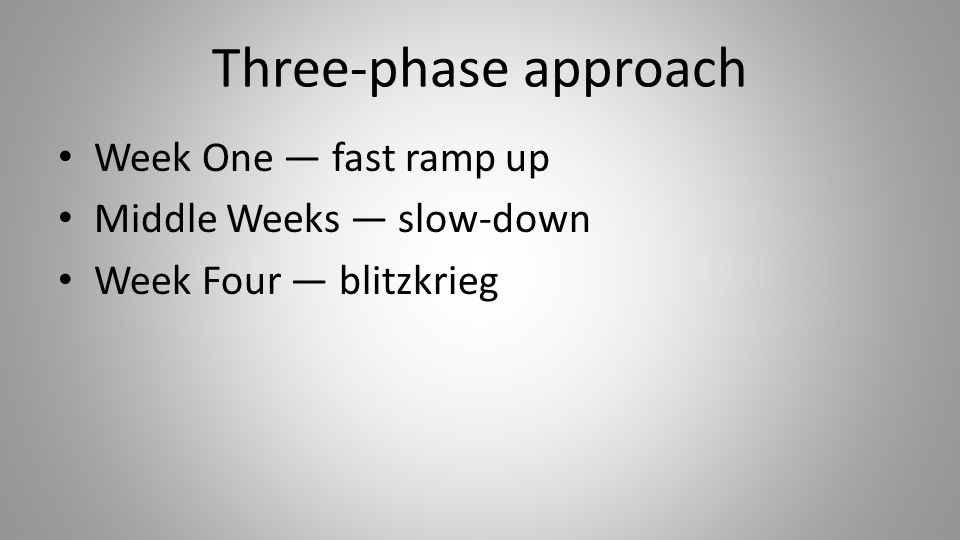 Three-phase approach Week One — fast ramp up Middle Weeks — slow-down Week Four — blitzkrieg