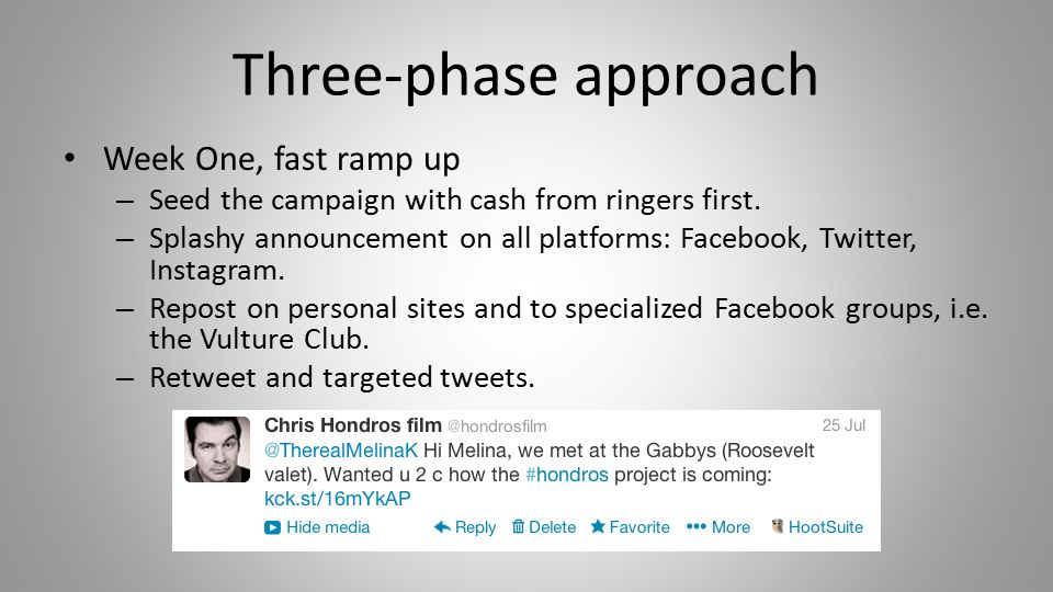 Three-phase approach Week One, fast ramp up – Seed the campaign with cash from ringers first.