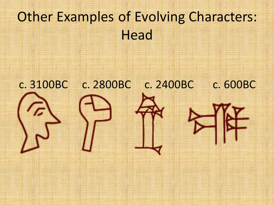 Other Examples of Evolving Characters: Head c. 3100BC c. 2800BC c. 2400BC c. 600BC
