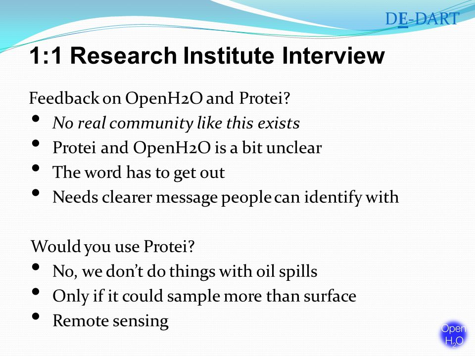 1:1 Research Institute Interview Feedback on OpenH2O and Protei.