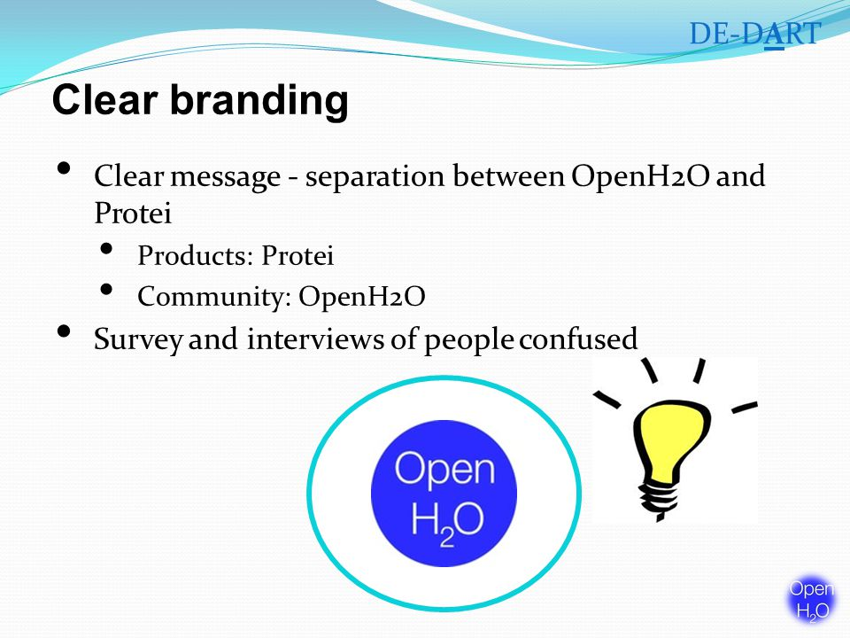Clear branding Clear message - separation between OpenH2O and Protei Products: Protei Community: OpenH2O Survey and interviews of people confused DE-DART