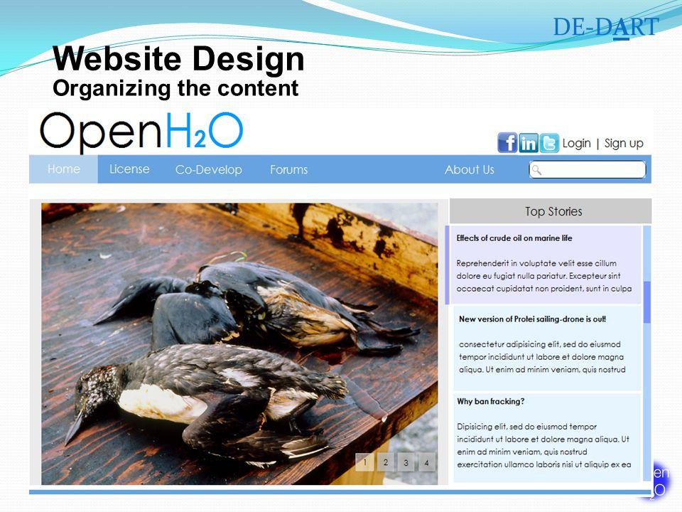 Organizing the content DE-DART Website Design