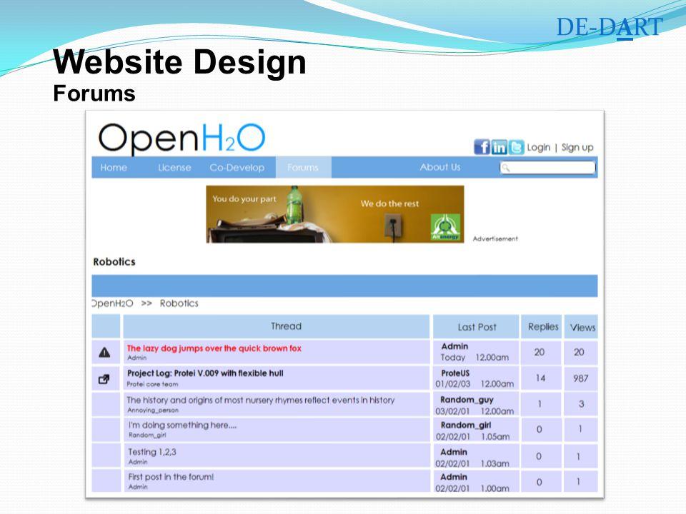 Forums DE-DART Website Design