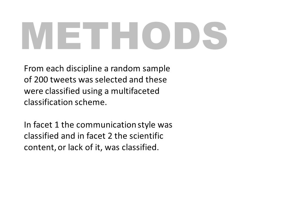 METHODS From each discipline a random sample of 200 tweets was selected and these were classified using a multifaceted classification scheme.