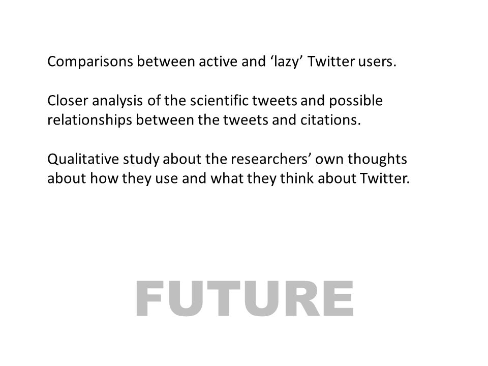 FUTURE Comparisons between active and 'lazy' Twitter users.