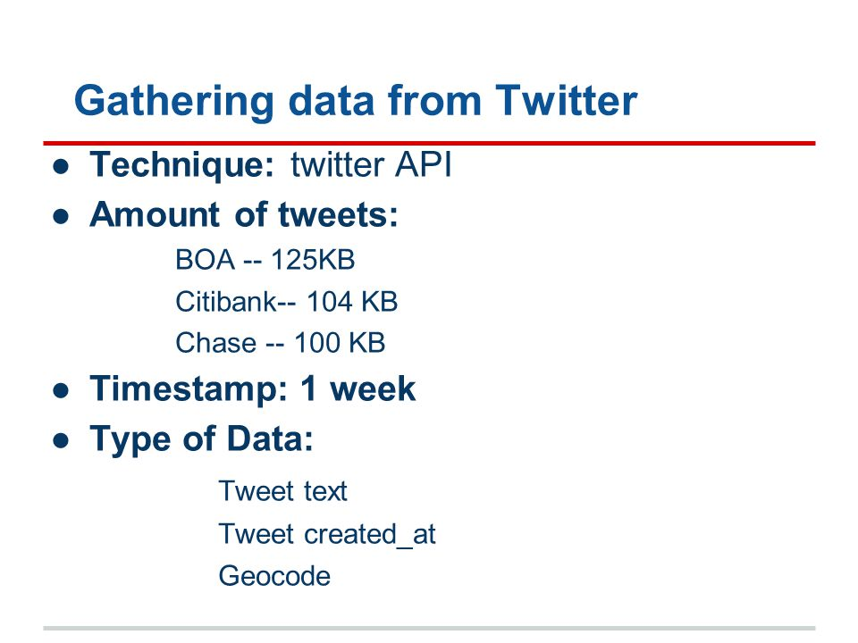 Gathering data from Twitter ●Technique: twitter API ●Amount of tweets: BOA -- 125KB Citibank-- 104 KB Chase -- 100 KB ●Timestamp: 1 week ●Type of Data: Tweet text Tweet created_at Geocode