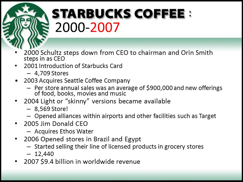 2000-2007 2000 Schultz steps down from CEO to chairman and Orin Smith steps in as CEO 2001 Introduction of Starbucks Card – 4,709 Stores 2003 Acquires