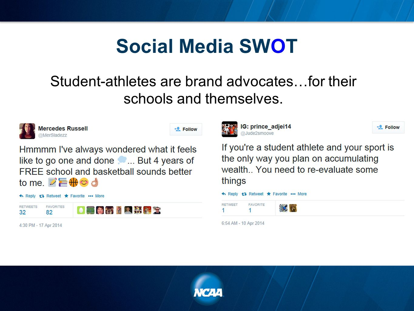 Social Media SWOT Student-athletes are brand advocates…for their schools and themselves.