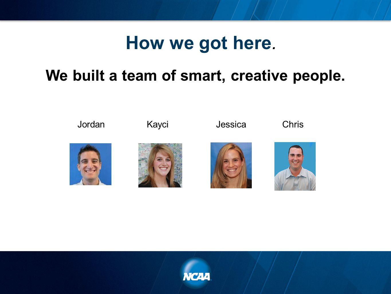 How we got here. We built a team of smart, creative people. JordanKayciJessicaChris