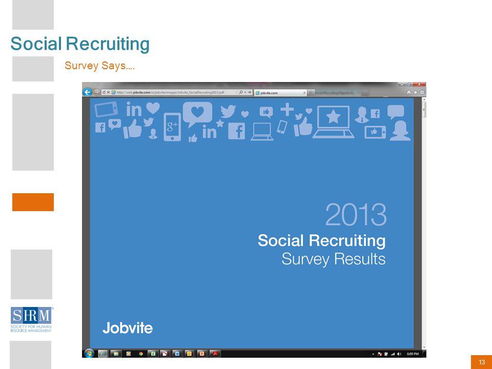 13 Social Recruiting Survey Says….