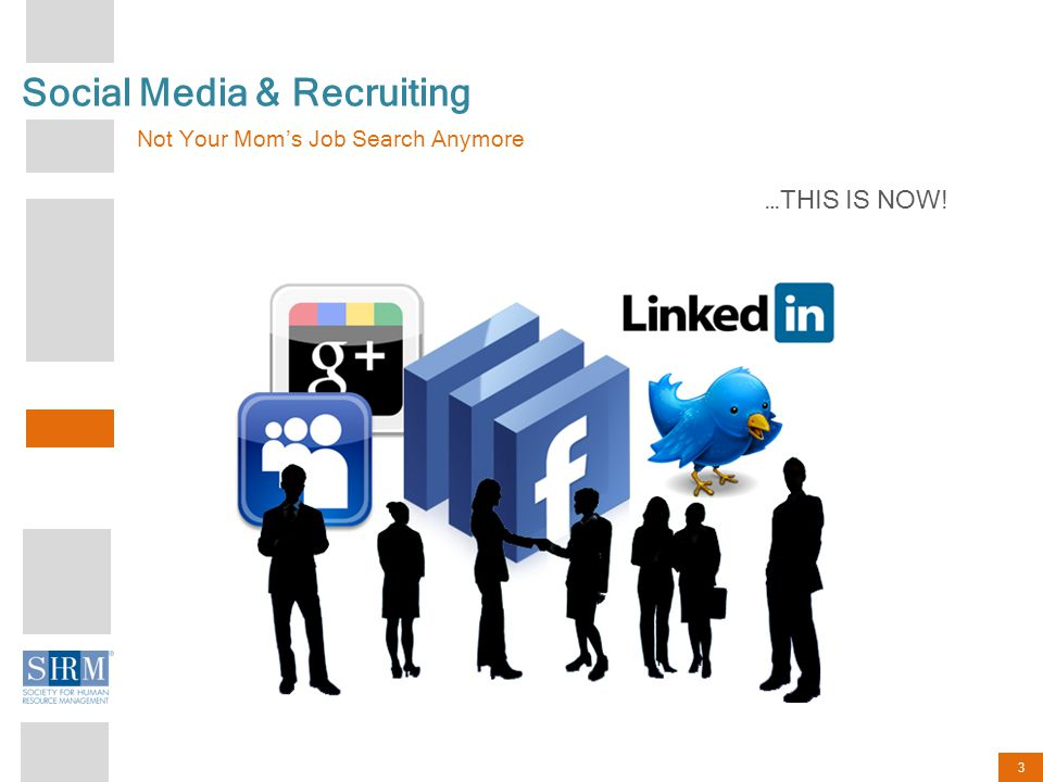 3 Social Media & Recruiting Not Your Mom's Job Search Anymore …THIS IS NOW!